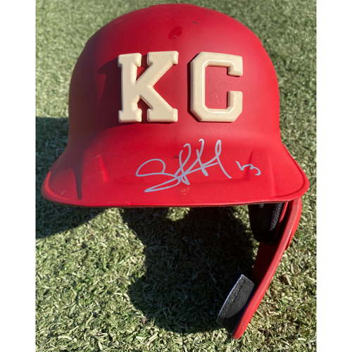 Photo of Autographed/Game-Used Monarchs Helmet: Salvador Perez (STL @ KC 9/22/20) - Size 7 5/8