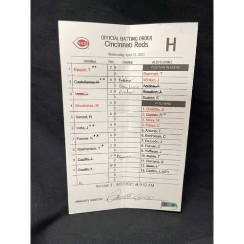Photo of Official Batting Order Card -- Cincinnati Reds -- Pirates vs. Reds -- April 7, 2021 -- $5 Shipping
