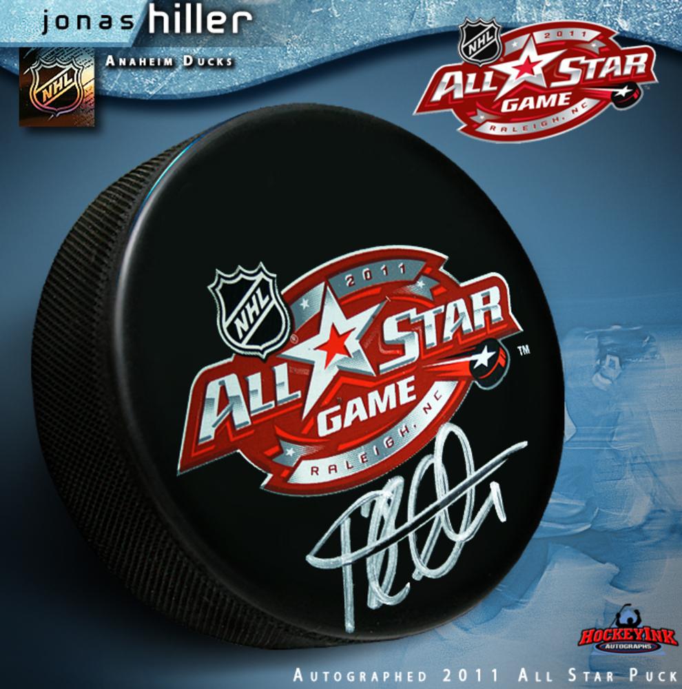 JONAS HILLER Signed 2011 NHL All Star Game Puck - Anaheim Ducks