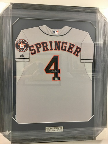 George Springer Autographed Framed Authentic Astros Jersey