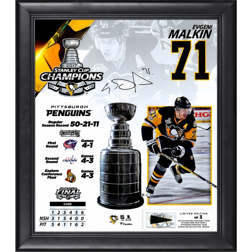 Evgeni Malkin Pittsburgh Penguins Framed 2017 Stanley Cup Champions Autographed 15