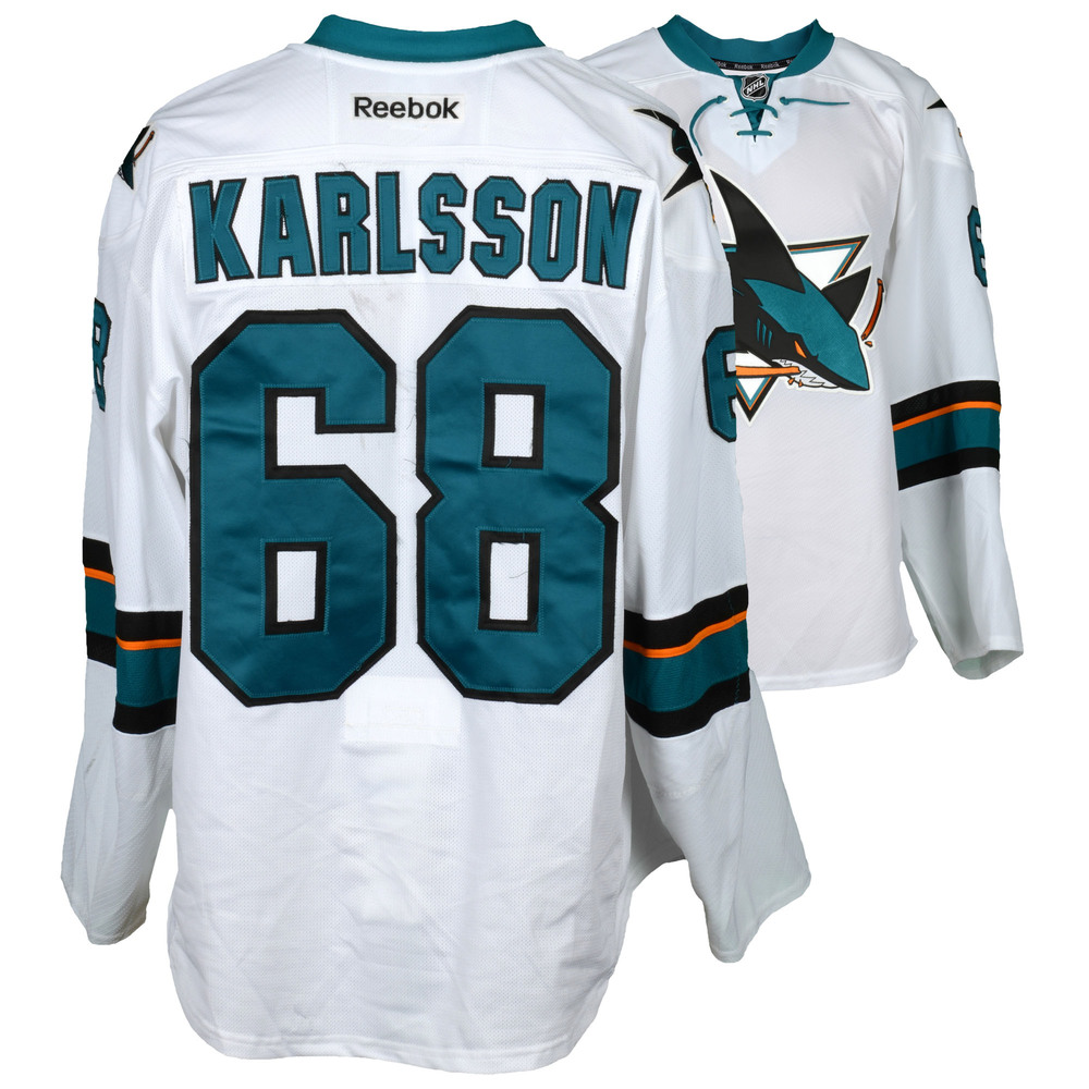 Melker Karlsson San Jose Sharks Game-Used Away White #68 Jersey Used During All Games Between March 30, 2017 to April 3, 2017 - Size 56