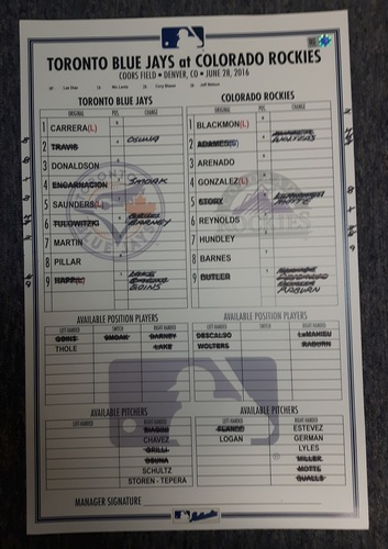 Photo of Authenticated Game Used Line-Up Card - June 28, 2016: Tulowitzki Homered against his Former Team. 11 inches by 17 inches.
