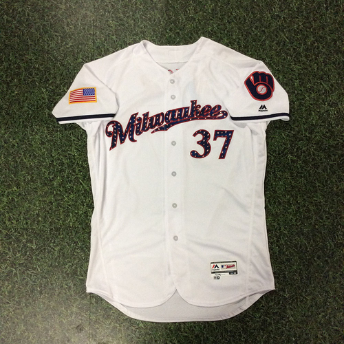 Photo of Adrian Houser Team-Issued 2018 Stars & Stripes Jersey