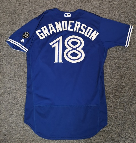Photo of Authenticated Game Used Jersey - #18 Curtis Granderson (June 9, 18. June 25, 18: 2-for-4 with 2 HRs, 2 Runs and 2 RBIs). Size 46.