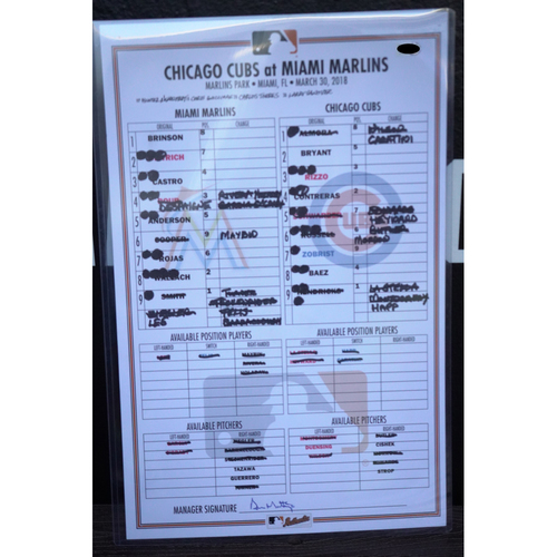 Photo of Game-Used Lineup Card: Cubs @ Marlins (March 30, 2018)