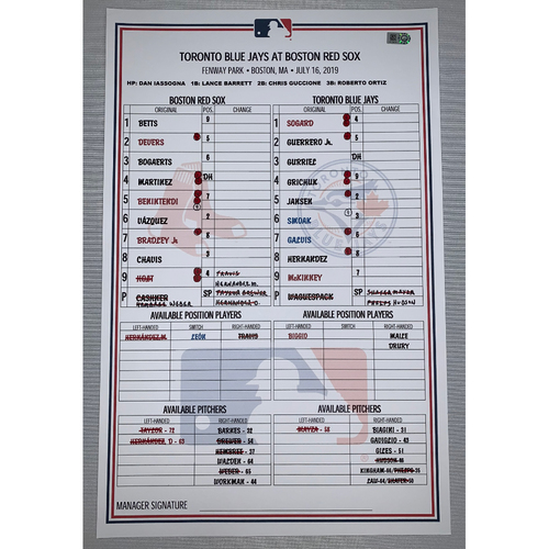 Photo of Toronto Blue Jay vs Boston Red Sox July 16, 2019 Game Used Lineup Card - Blue Jays Win 10 to 4
