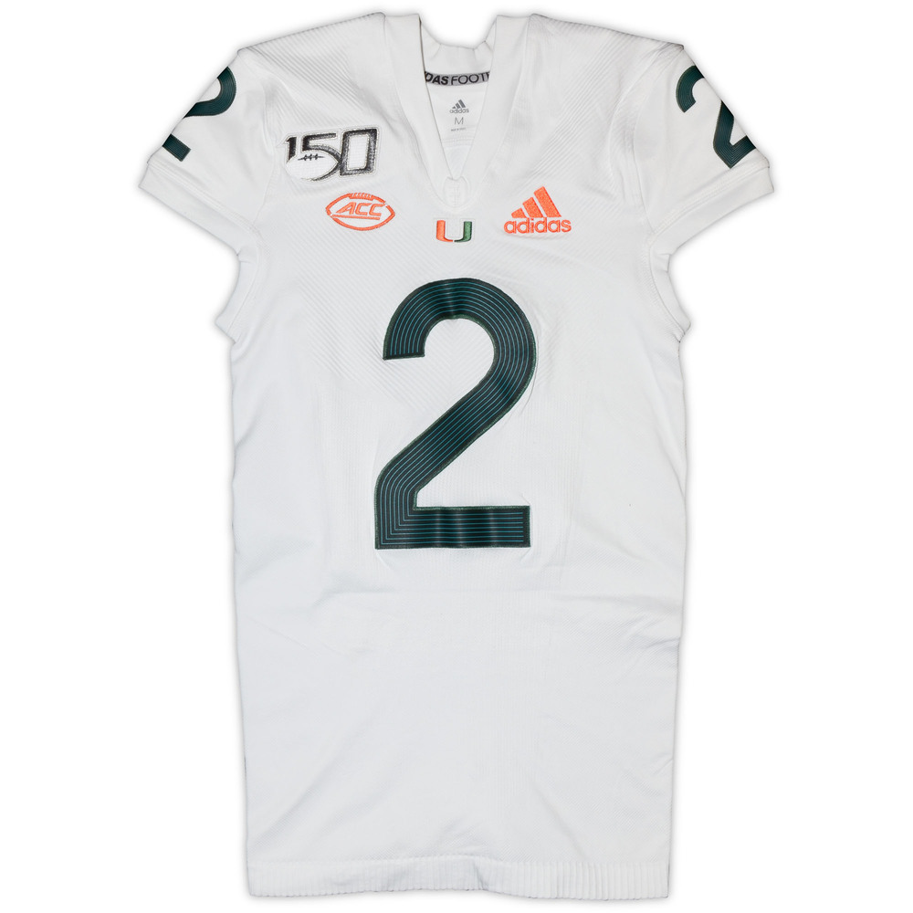 Miami Hurricanes Game-Used #2 White Parley Jersey - Size Medium