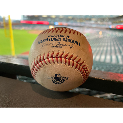 Photo of 2020 Game Used Baseball - Home Opening Day - SF vs SD - T-3: Samardzija to Tatis Jr. - 3 Run Home Run to Right Field (Myers and Mejia Score)