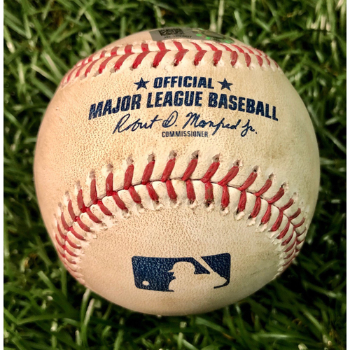 Photo of Game Used Baseball: Giovanny Urshela 2RBI double off Tyler Glasnow - August 8, 2020 v NYY