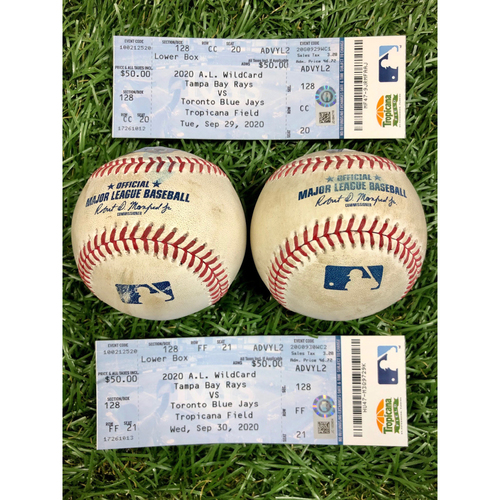 Photo of A.L. Wild Card Series Game Used Baseball and Ticket Package: Kevin Kiermaier, Hunter Renfroe, Robbie Ray and Hyun-Jin Ryu - September 29-30, 2020 v TOR
