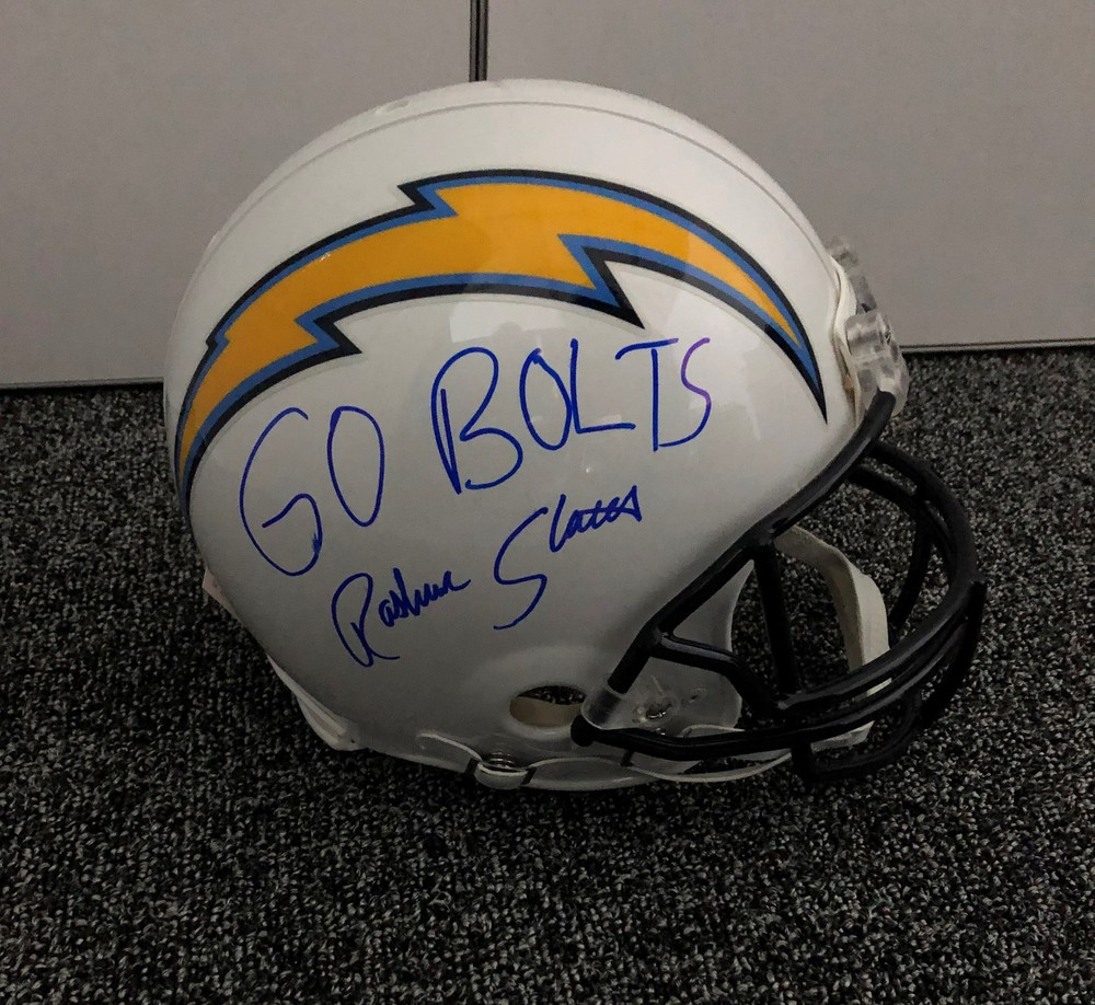 Rashawn Slater Autographed Chargers Helmet - 1st item signed after being drafted