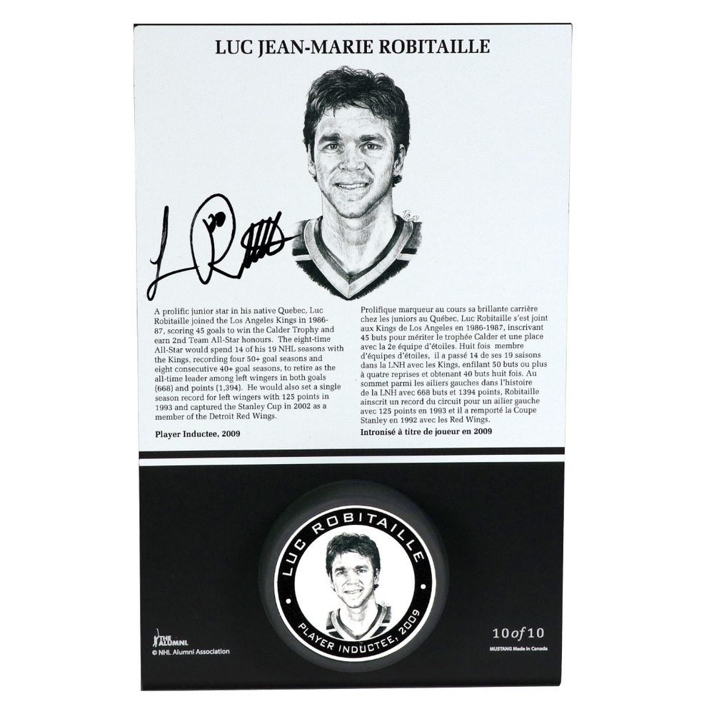 Luc Robitaille Autographed Legends Line Honoured Member Puck Stand - Limited Edition 3/10