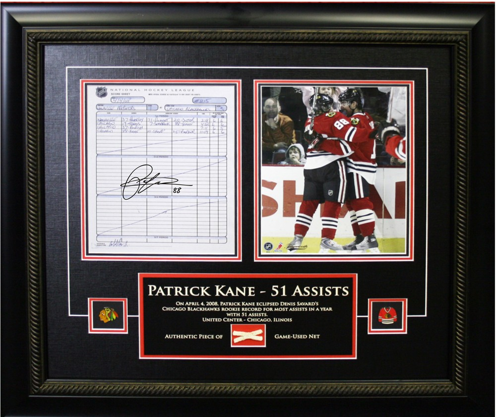 Patrick Kane - Signed & Framed Scoresheet Etched Mat - Featuring 8x10 & Net Assist Record