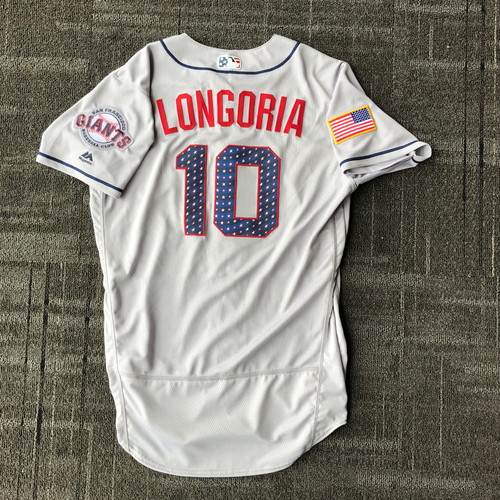 Photo of San Francisco Giants - 2018 Team Issued Stars & Stripes Jersey - #10 Evan Longoria - Size 42