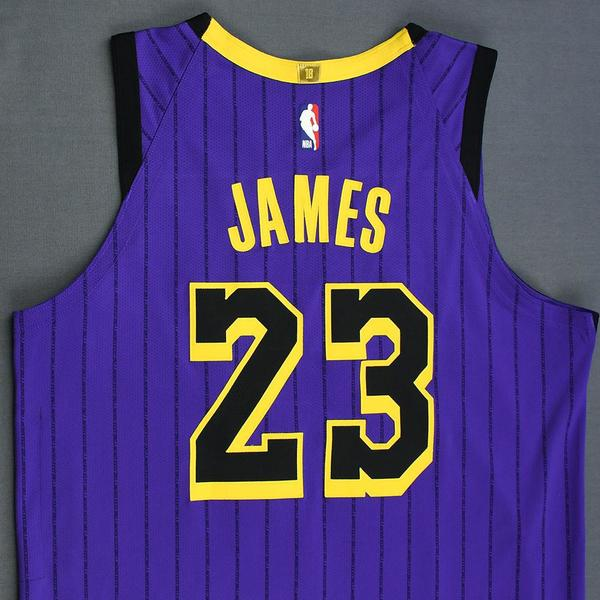 save off 8fca2 896dc LeBron James - Los Angeles Lakers - Game-Worn City Edition ...