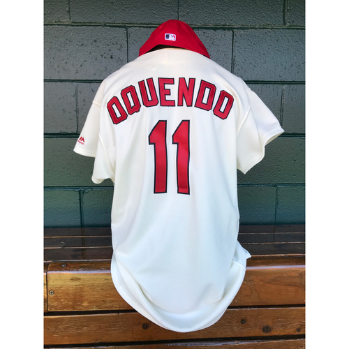 Photo of Cardinals Authentics: Game Worn Jose Oquendo Turn Back the Clock Jersey and Cap