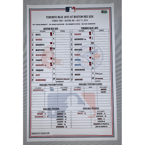 Photo of Toronto Blue Jay vs Boston Red Sox July 17, 2019 Game Used Lineup Card - Red Sox Win 5 to 4