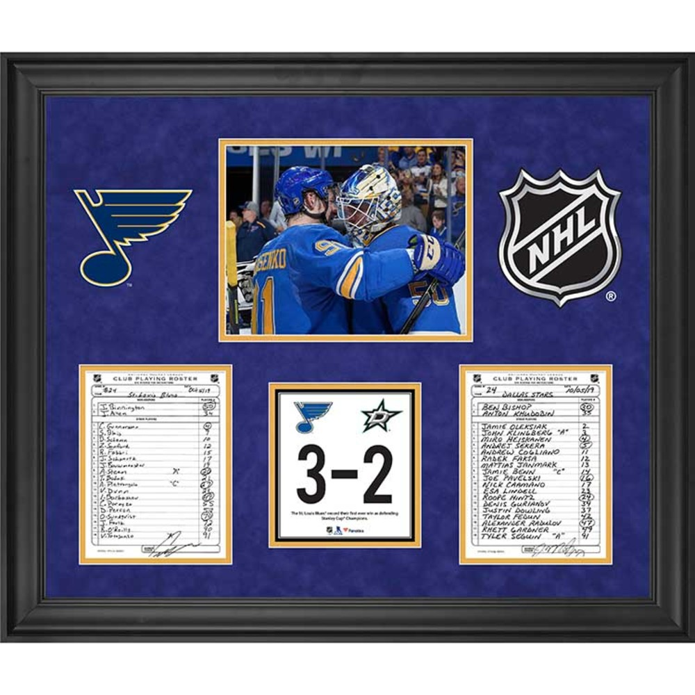 St. Louis Blues Framed Original Line-Up Cards from October 5, 2019 vs. Dallas Stars - Blues First Win Since Game Seven of the 2019 Stanley Cup Final