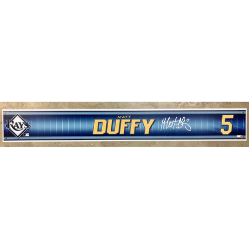 Photo of Rays Baseball Foundation: Team Issued Autographed Locker Tag - Matt Duffy
