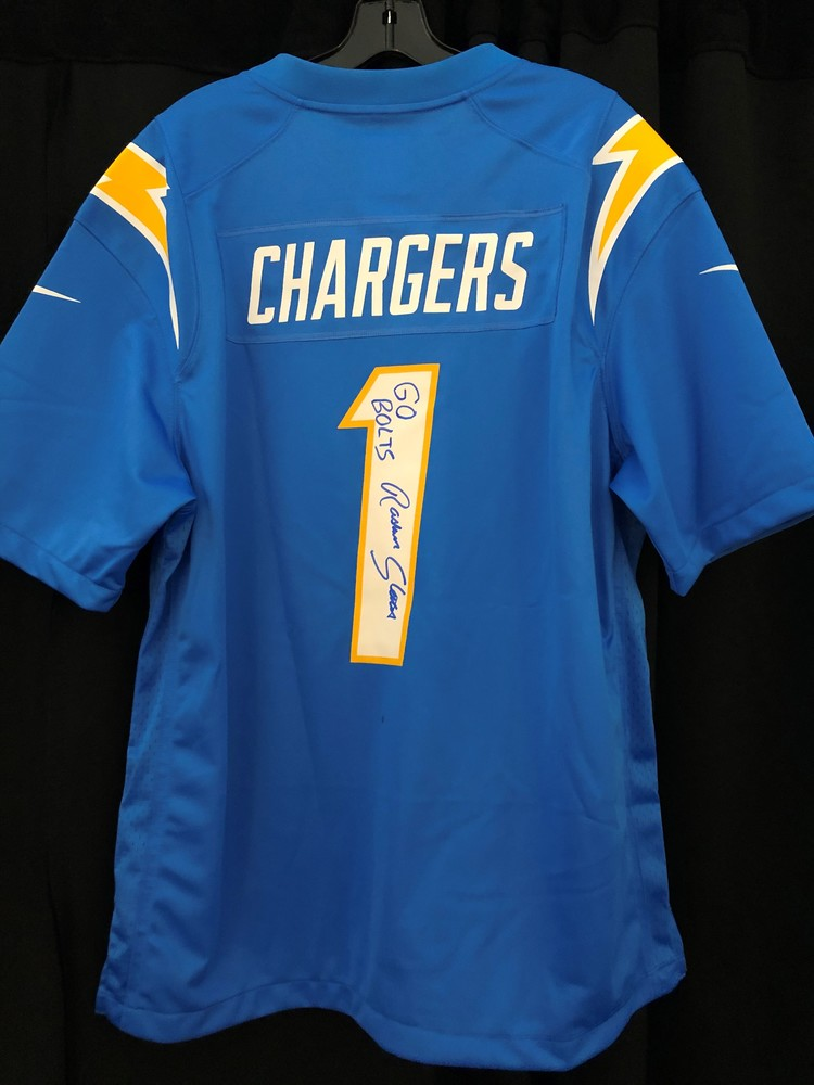 Rashawn Slater Autographed Chargers Replica Jersey - 1st Jersey Signed After Being Drafted