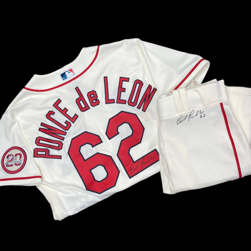 Photo of Daniel Ponce de Leon Autographed Team Issued Home Alternate Jersey w/ Lou Patch (Size 42) and Autographed Team Issued Home Alternate Pants (Size 34)