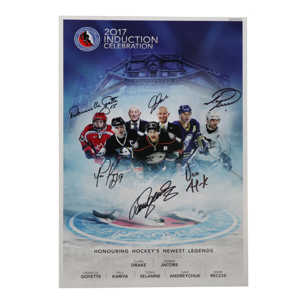 Selanne, Kariya, Andreychuk, Recchi, Goyette, Jacobs, Drake - Class of 2017 Induction Signed Poster - Limited Edition