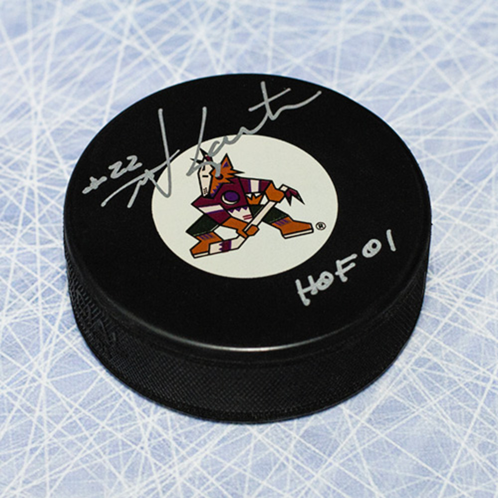 Mike Gartner Phoenix Coyotes Autographed Hockey Puck with HOF Inscription