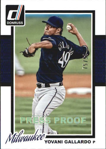 Photo of 2014 Donruss Press Proofs Gold #313 Yovani Gallardo