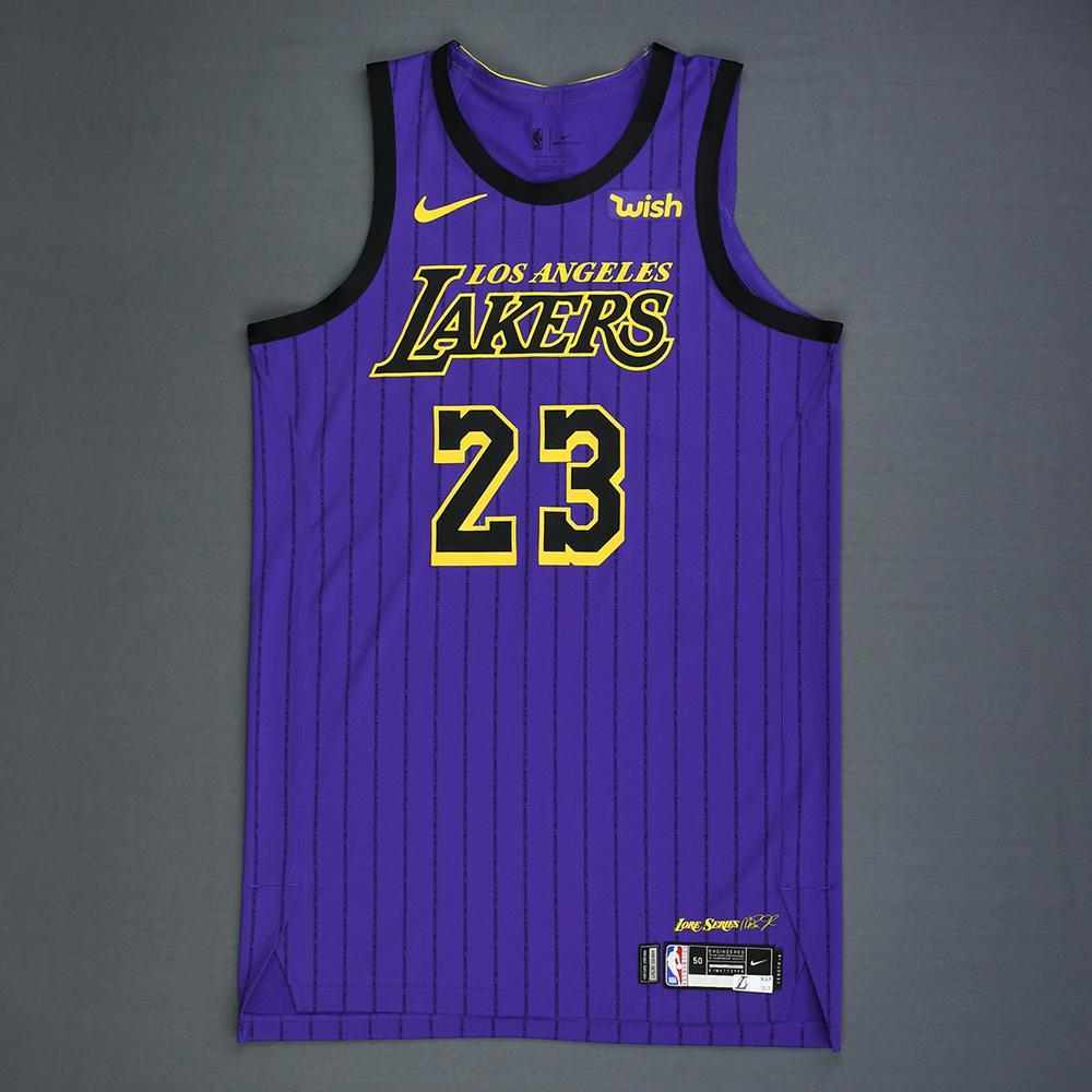 save off d4f9a c64b8 LeBron James - Los Angeles Lakers - Game-Worn City Edition ...