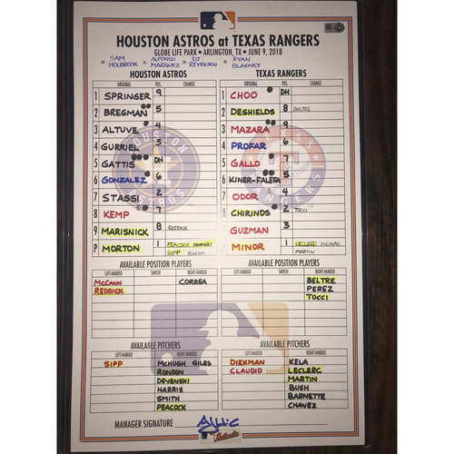 Astros at Rangers Game-Used Lineup Card: June 9, 2018