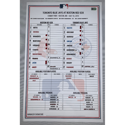 Photo of Toronto Blue Jay vs Boston Red Sox July 18, 2019 Game Used Lineup Card - Red Sox Win 5 to 0