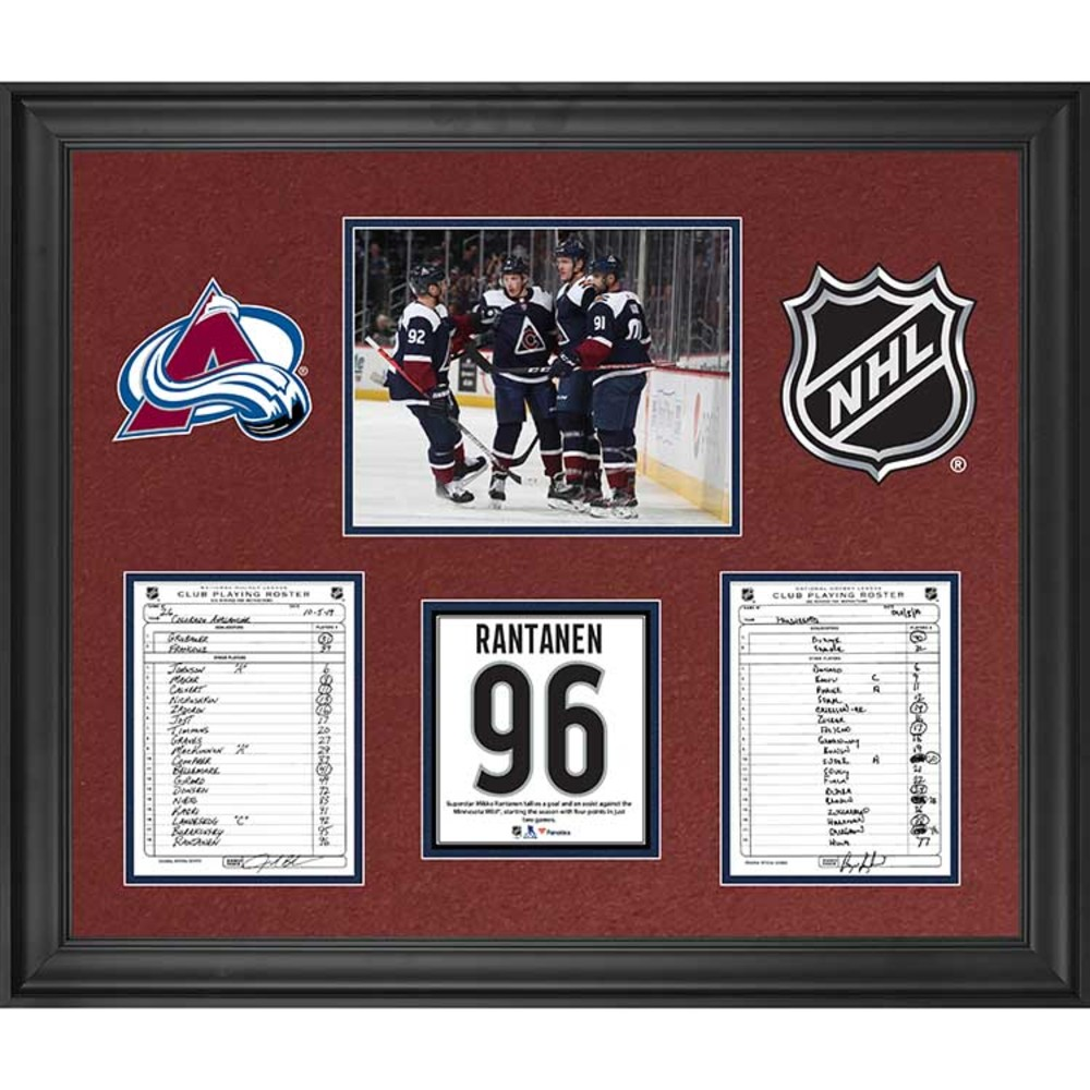 Colorado Avalanche Framed Original Line-Up Cards from October 5, 2019 vs. Minnesota Wild - Mikko Rantanen Records Four Points in Two Games