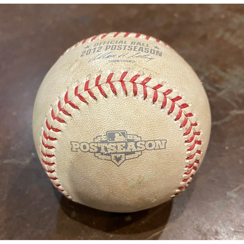 Photo of 2012 NLDS Game 1 Game Used Baseball used on 10/6/12 vs. CIN - T-8: Guillermo Mota to Zack Cozart - Pitch in the Dirt
