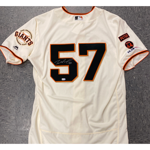 Photo of 2020 Cyber Monday Sale - #57 Dereck Rodriguez Team Issued Autographed Home Cream Jersey - Size 46