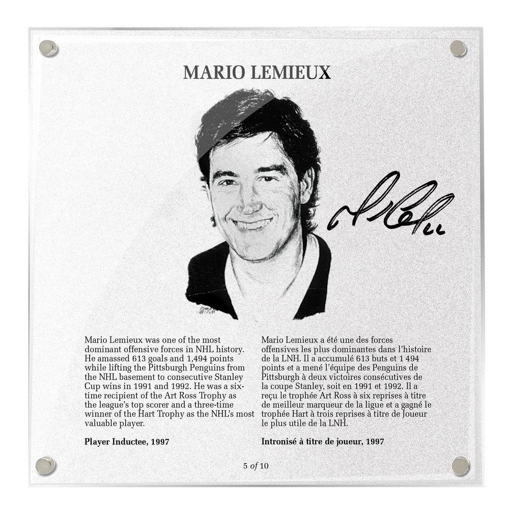 Mario Lemieux Autographed Legends Line Honoured Member Plaque - Limited Edition 8/10