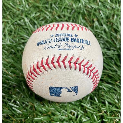 Photo of Game Used Baseball: Austin Meadows single, Randy Arozarena single and Brandon Lowe walk off Jake Barnes - Shane McClanahan 1st MLB Win & Jake Hager MLB Debut - Bottom 8 - May 15, 2021 v NYM