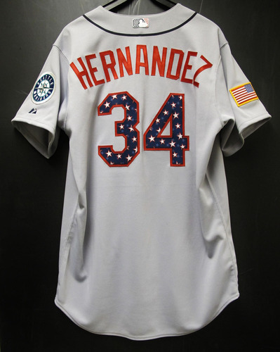 4f1aa8c7 Felix Hernandez Game-Used 4th of July Jersey 2015