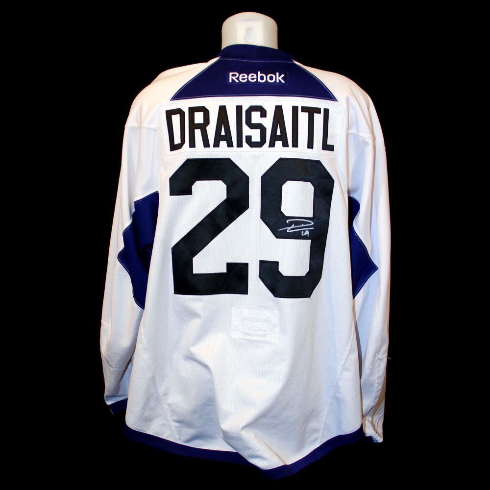2c6442253 Leon Draisaitl  29 - Autographed 2015-16 Edmonton Oilers Training Camp Worn  White RBK Name And Numbered Practice Jersey