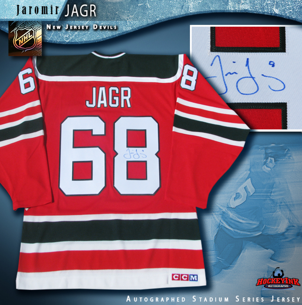 JAROMIR JAGR Signed 2014 NHL Stadium Series New Jersey Devils Red Reebok Jersey
