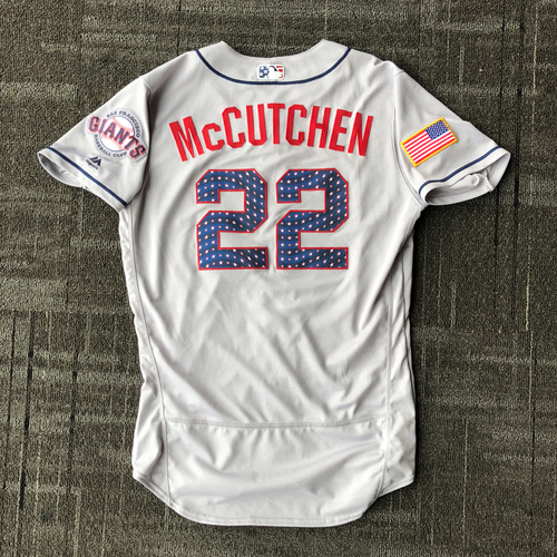 Photo of San Francisco Giants - 2018 Game-Used Stars & Stripes Jersey worn by #22 Andrew McCutchen - Size 42