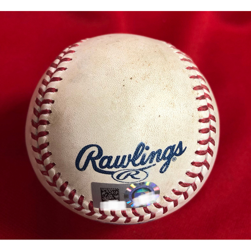 Photo of Ronald Acuna Jr. MLB Debut -- Game Used -- 04/25/2018 -- ATL vs. CIN -- Johan Comargo Double
