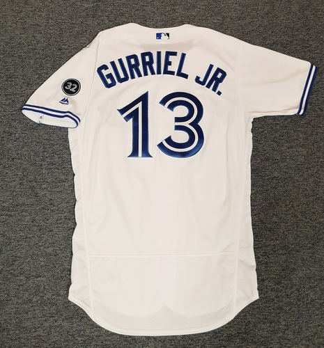 Photo of Authenticated Game Used Jersey - #13 Lourdes Gurriel Jr. (April 24, 18). Size 44. Rookie Season.