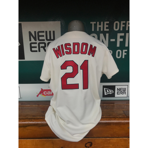 Photo of Cardinals Authentics: Game Worn Patrick Wisdom 1968 Turn Back the Clock Jersey and Cap
