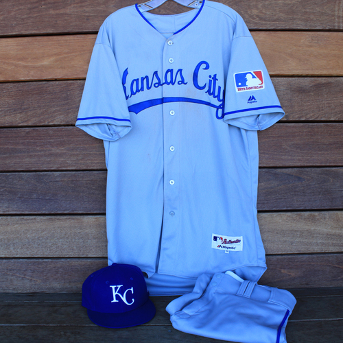 Photo of Game-Used 1969 Throwback Jersey, Pants and Cap: Hunter Dozier (Jersey Size 46 - KC @ WSH  - 7/6/19)