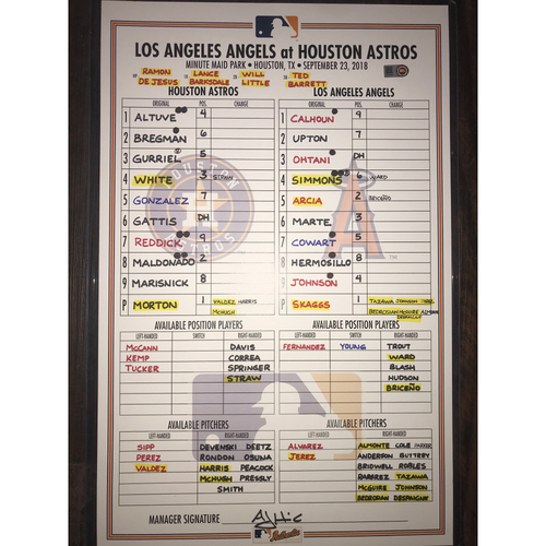Photo of Astros vs. Angels Game-Used Lineup Card: September 23, 2018