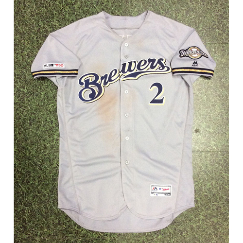 Photo of Trent Grisham 2019 Game-Used Road Grey Jersey