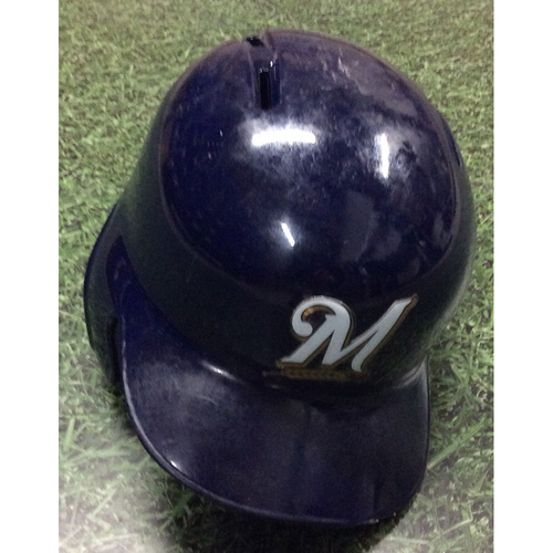 Photo of Mike Moustakas 04/08/19 Game-Used Batting Helmet - Career 150th HR Game