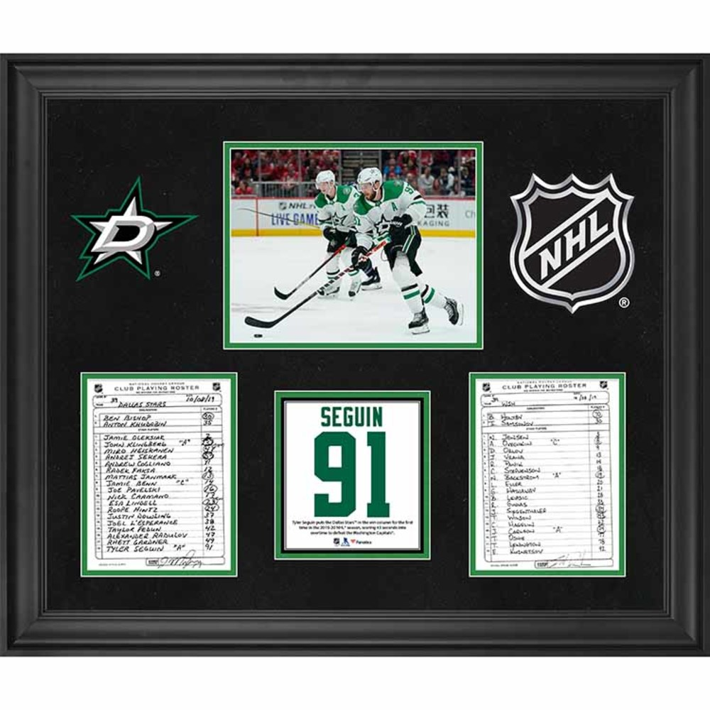 Dallas Stars Framed Original Line-Up Cards from October 8, 2019 vs. Washington Capitals - Tyler Seguin Scores Game-Winning Overtime Goal