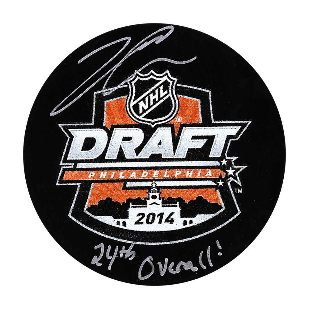 Jared McCann Autographed 2014 NHL Entry Draft Puck w/24TH OVERALL Inscription